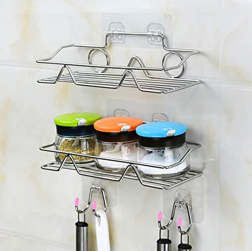 2 Piezas Especiero cocina,Speciero de Pared o para Armario,Organizador cocina,Estanterías para especias,Sin Taladro Estantes de Baño,Baldas pared sin agujeros,Acero Inoxidable