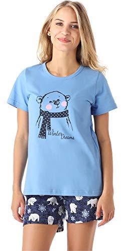 Merry Style Mädchen Jugend Schlafanzug MS10-194 (Blau Bär, 164)