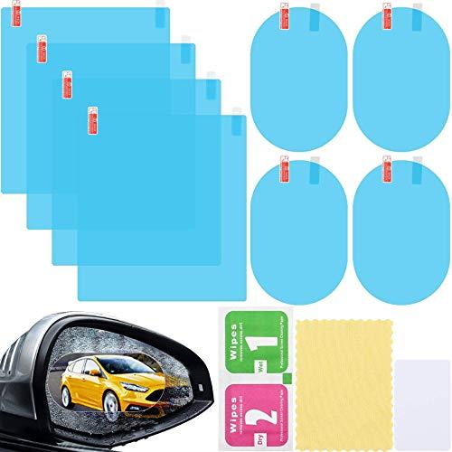 Regenschutzfolie Rückspiegel,Autoregenschutzfolie,Auto Rückspiegel Folie,Auto Rückspiegel Wasserdichte Folie,Regenschutzfolie Auto, 360° Adjustable für Autospiegel und Seitenfenster, 8pcs