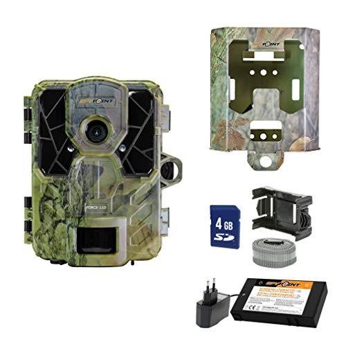 SpyPoint Wild-/Überwachungskamera FORCE-11D-EU inklusive Lithium-Akku SD-Karte und Metallschutzgehäuse Outdoor, Camouflage Metallgehäuse