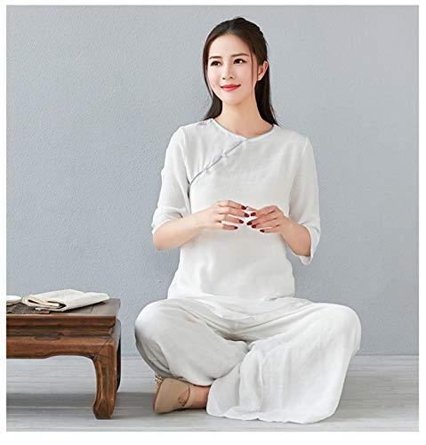 LINFENG Abbigliamento Tai Chi Abbigliamento Kung Fu Cinese Cotone e Lino Arti Marziali Uniforme per Kungfu Taichi Arti Marziali di Meditazione Zen Wing Chun (Color : White, Dimensione : XL)