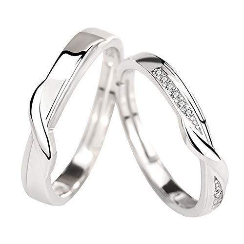 Ostory 指輪 人気 個性的な ペアリング シルバー925純銀製 ペア指輪 カップル リング 婚約リング 婚約指輪 スライド調整 フリーサイズ レディース メンズ アクセサリー