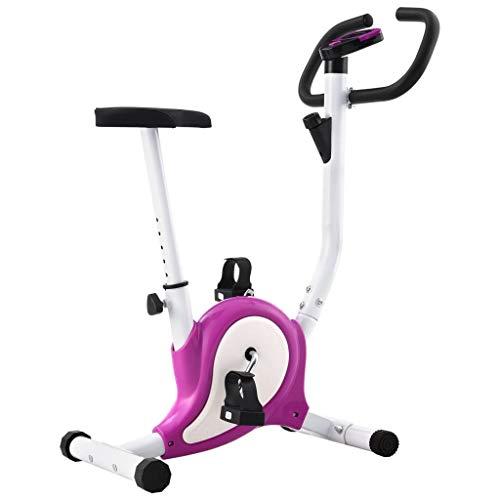 vidaXL Cyclette Ellittica con Cinghia di Resistenza Display LCD Regolabile Antiscivolo Allenamento Fitness Macchina Cardio Ciclocamera Viola 100 kg