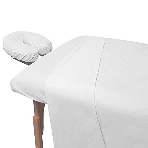 3-Piece Massage and Spa Fitted Sheets for Portable Tables, White, Premium Quality Preferred by Professionals in Massage and Spa Industry, 190 Thread Count Percale by Atlas
