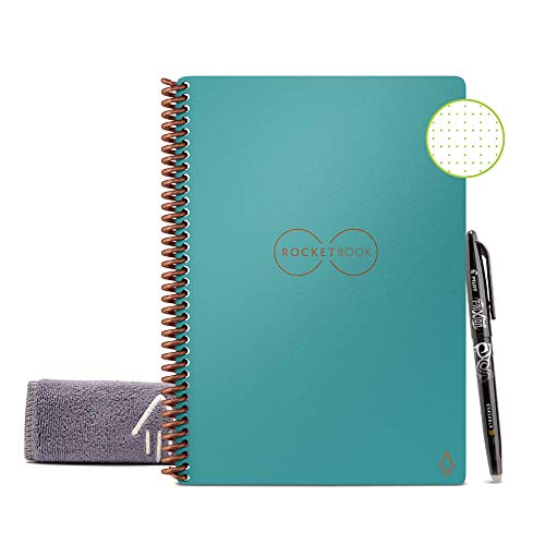 Rocketbook Smart Reusable Notebook - Dot-Grid Eco-Friendly Notebook with 1 Pilot Frixion Pen & 1 Microfiber Cloth Included - Neptune Teal Cover, Executive Size (6