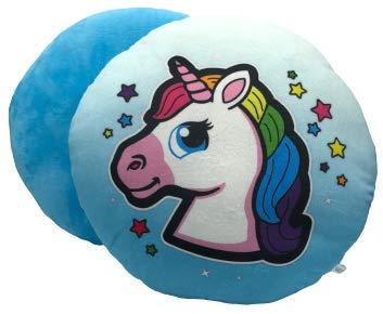 ML cojin de Peluche Grande Pack de 2 Cojines redondes Unicornio, Cojín Almohada Redonda Emoticon Peluche 33x33x10cm Rosa