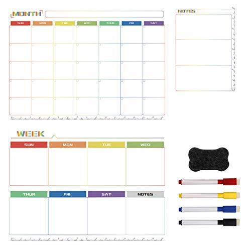 BESPORTBLE, 1 conjunto magnético semanal, mensal, planner magnético apagável a seco com canetas, adesivo, apagador magnético de quadro branco, bloco de notas para geladeira e casa
