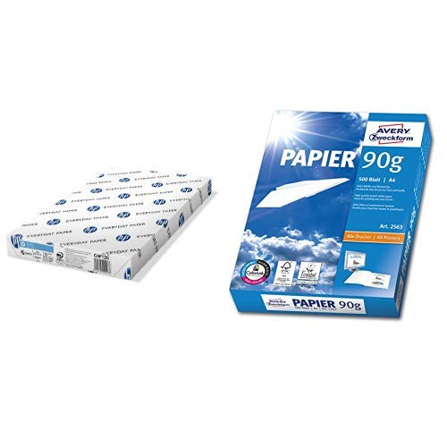 Hewlett-Packard CHP120 Kopierpapier HPOffice 80 g/m², A3 500 Blatt weiß & AVERY Zweckform 2563 Drucker-/ Kopierpapier (DIN A4, 90 g/m², 500 Blatt, alle Drucker) weiß