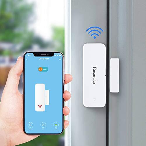 Panamalar Kabellos Smart WLAN Türfenstersensor, Niedriger Energie Tür&Fensteralarm kompatibel mit Alexa/Google-Assistent, Auto Erkennung passt für Türen, Fenster und Schränke, Wohnungen und Büro