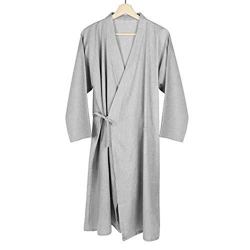 Qchomee Herren Kimono Morgenmantel Casual Yukata V-Ausschnitt Schlafrock Langarm Schlafmantel Schlafshirt Baumwolle Bademantel Japanische Saunamantel Gemütlich Nachtwäsche Sleepwear mit Tasche
