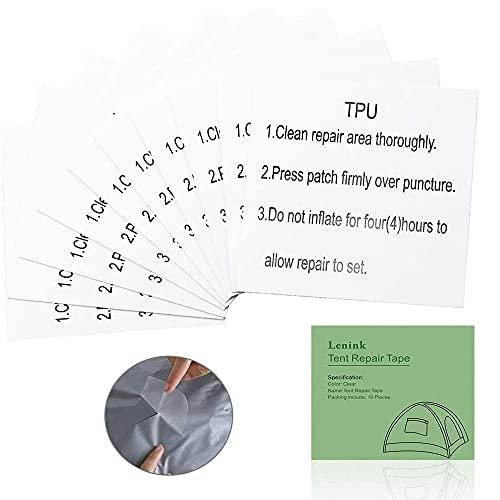 Tent Repair Tape, 12 Pcs Waterproof Tenacious Tape, Clear Airbed Repair kit, Puncture Repair Patches for Tents, Awnings, Down Jacket, TPU Patches Repair Sticker ForInflatable Swimming Pools, Kayak