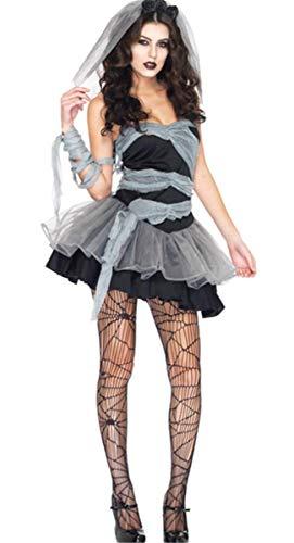 Emin Damen Kleid Sexy Geisterbraut Zombiekostüm Kostüm Halloweenkostüm Karnevalskostüm Frauenkostüm Horror Damenkostüm Vampir Teufel Zombie Braut Brautkleid Damen Kostüm Erwachsenenkostüm Minikleid