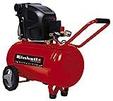 Einhell 4010440 Compresor TE-AC 270/50/10 Expert, 1800 W, potencia de aspiración 270 l/min, 2850 rpm, presión máxima 10 bares, capacidad de 50 L, 230 V, Rojo, 720 x 330 x 770