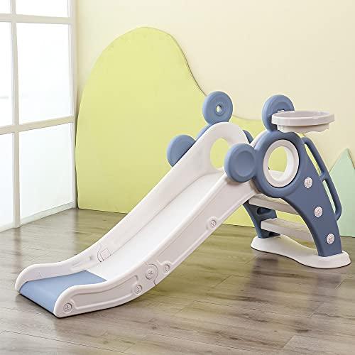 Kinder rutsche Outdoor Waterslide faltbar Gartenrutsche für Spielhaus Spielturm Pool Kleinkinderrutsche für 1-3 Jahre Indoor Fun-Slide (Blau)