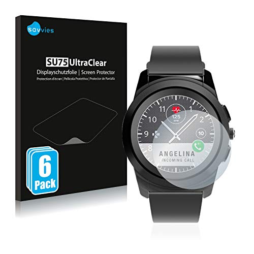Savvies 6X Schutzfolie kompatibel mit MyKronoz ZeTime Regular (44 mm) Bildschirmschutz-Folie Ultra-transparent
