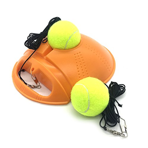 Linkin Sport Tennis Trainer Rebound Baseboard Self Tennis Training Tool Ball Back Training Gear with 2 String Balls (Orange)