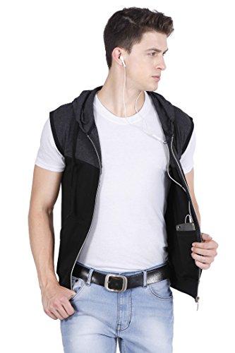 fanideaz Branded Hooded Cotton Dark Grey Zipper Jacket Sleeveless Tshirts for Men XL
