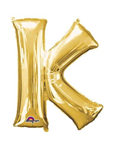 PartyDeco- Globo Mylar con forma de letra K oro 35 cm para cumpleaños de adulto niño, color FB2M-K-019