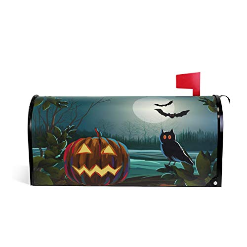 Alaza(mailbox cover) Woor Spooky Halloween avec Citrouille et Hibou magnétique pour boîte aux Lettres Standard Size-18 x 52,8 cm 20.8x18 inch Standard Size Multicolore