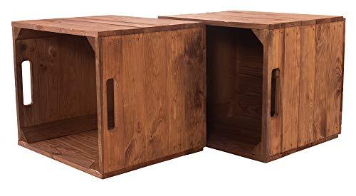 moooble 4er Paket Holzkiste Used für Kallax Regale 33cm x 37,5cm x 32,5cm IKEA Regalkiste rustikal Ikeaeinsatzkiste als Küchenregal Weinkiste unbehandelt Wandregal Badregal Obstkisten alt