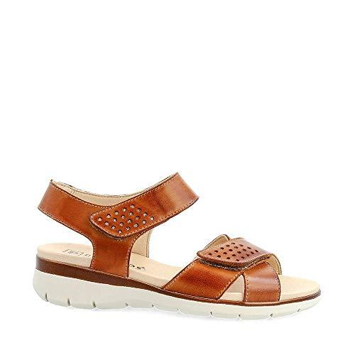 PITILLOS - Sandalia DE Piel con Tiras Ajustables DE Velcro Y Plantilla Acolchada. Cuero Mujer Color: Cuero-Oro Talla: 41