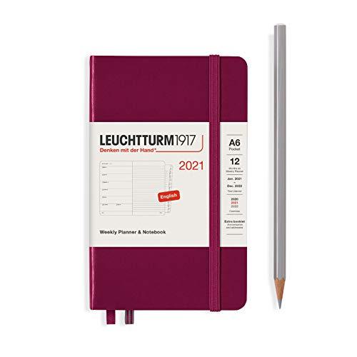 LEUCHTTURM1917 361860 Wochenkalender & Notizbuch 2021 Hardcover Pocket (A6), 12 Monate, Port Red, Englisch
