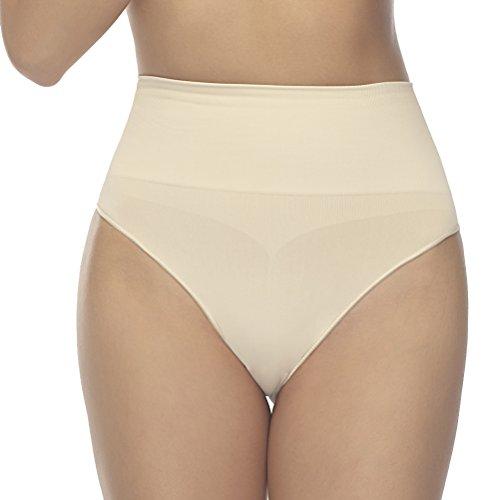 Formeasy Damen Taillenslip Nahtlos mit hohem Bund – Macht eine unglaublich schöne Form – Bequeme leicht Formende Unterwäsche Unterhose Bauchweg Hüftslip Seamless Shape Slip Panties (L-XL, Beige/Nude)