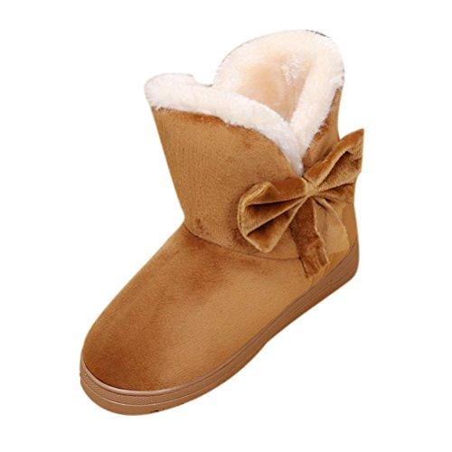 Damen Schlupfstiefel | Bowknot Warme Frauen Wohnungen Schuhe | Schnee Frauen Stiefel | Herbst Winter | Mode Im Freien | Sunday (Braun, 38-39 EU)