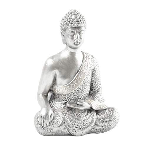 BESPORTBLE Meditating Buddha Statue Seated Resin Buddha Figurine Buddha Statue Idol Sculpture Zen Garden Accessories Desktop Decor Silver
