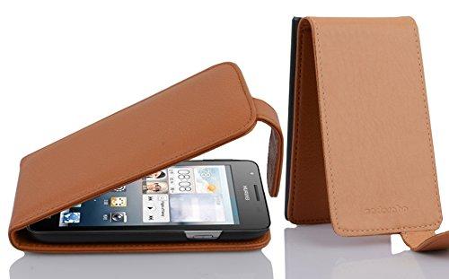 Cadorabo Hülle für Huawei Ascend G525 / G520 in Cognac BRAUN - Handyhülle im Flip Design aus Strukturiertem Kunstleder - Hülle Cover Schutzhülle Etui Tasche Book Klapp Style