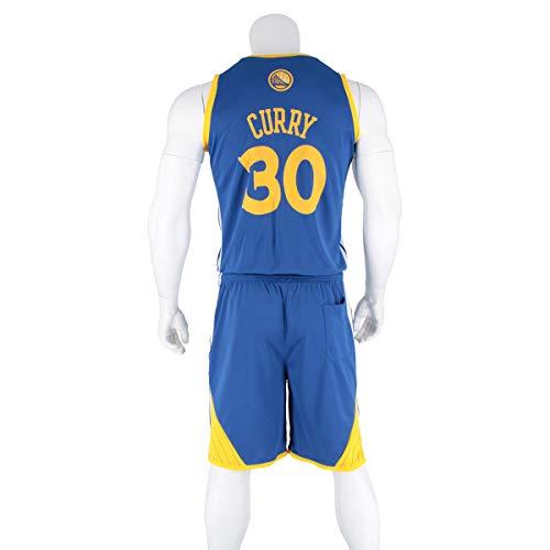 Hombres Adultos Camisetas de Baloncesto-Stephen Curry#30 Camiseta de Verano de Baloncesto Chaleco Top Shorts de Verano Golden State Warriors Jersey Trajes Kits Top + Shorts 1 Juego,Azul,4XL