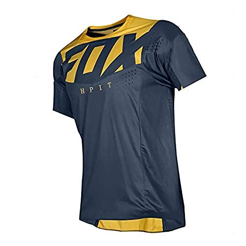 MTB Fox Camisas de Bicicleta de montaña Offroad, Jerseys de Bicicleta Motocross BMX Racing Camiseta Downhill Corta MX Summer Hpit Fox MTB Jersey Locomotora en Ejercicio y Fitness para Hombres, XL