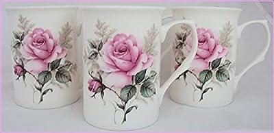Majestic Rose Mugs Set of 6 Fine Bone China Roses Mugs Hand Decorated in the UK Free UK Delivery