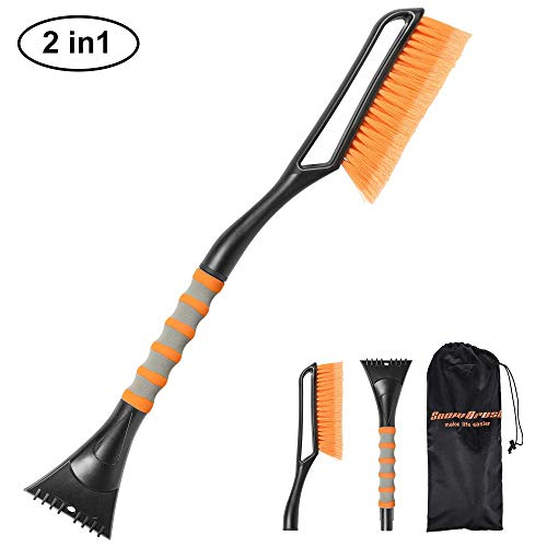 SEEKONE Car Snow Brush and Ice Scraper, 2 in 1 Detachable Winter Snow Ice Shovel Removal Tool with Ergonomic Foam Grip for Car Truck SUV (27in)