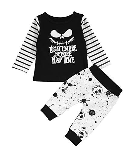Conjunto de Ropa para niños pequeños, bebés, niños, Pesadilla, Camisetas de Rayas...