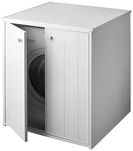Negrari AM5013P - Mueble cubrelavadora XXL para todas las lavadoras/secadoras de comercio, color blanco