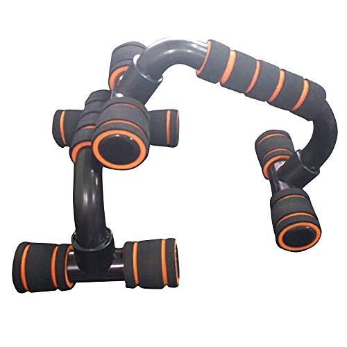 HUI JIN - Soporte de empuje de acero con empuñaduras de espuma para ejercicios de pecho, ejercicios de entrenamiento, equipo de construcción corporal, color naranja