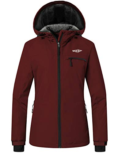 Wantdo Damen Berg ski-Jacke Winddichte fleeceschneemantel regenkleidung wasserdicht mit Kapuze Warmer Parka x-Large weinrot