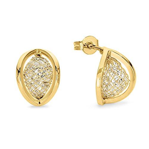 Noelani Damen-Ohrringe gelbvergoldet veredelt mit Swarovski Kristallen, 14 mm