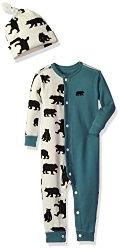 Hatley Sleepsuit & Cap Pyjama, Bleu (Black Bear/Newport Blue 400), 12-18 Mois Bébé garçon
