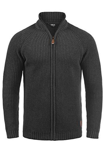 !Solid Xenos Herren Strickjacke Cardigan Grobstrick Pullover mit Stehkragen, Größe:S, Farbe:Med Grey M (8254)