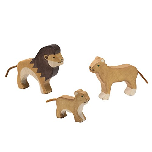 Holztiger Löwen Set - 3 x Löwen - Löwe, Löwin, Baby Löwe aus Holz