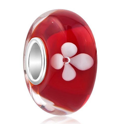 ReisJewelry Flower Lampwork Murano Glass Beads Spacer Charm With 925 Sterling Silver Core For Bracelets (Red)