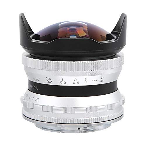 Topiky per Obiettivo con Attacco Z Nikon, CC-Mil7528N 7.5mm f/2.8 Obiettivo grandangolare per Fotocamera fisheye grandangolare con paraluce per Nikon Z6 Z7 Z50 Fotocamera mirrorless (Argento)