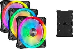 Corsair iCUE QL120 RGB, Ventilateur LED RGB PWM 120 mm (102 LED RGB Paramétrables Individuellement, Allant jusqu'à 1 500 TR/Min, Faible Bruit) Lot de Trois Ventilateurs avec Lighting Node CORE - Noir: Amazon.fr: Informatique