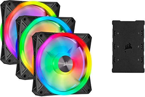 Corsair iCUE QL120 RGB, Ventilador LED RGB de 120 mm, Direccionables Individualmente, De Hasta 1500 RPM, Silencioso, Amortiguadores Antivibraciones, Paquete Triple con Lighting Node CORE, Negro