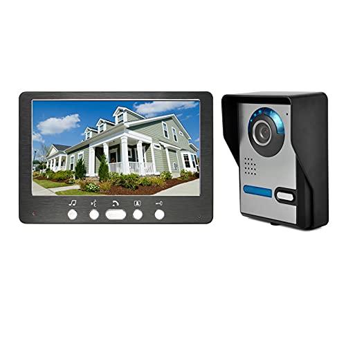 Timbre con video, intercomunicador, kit de sistema de seguridad para el hogar con videoportero para apartamento, cámara de visión nocturna para exteriores + monitor de 7 pulgadas