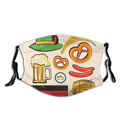 ZOANEN Gesichtsbedeckung Oktoberfest Symbole Weizenwurst Bier und Brezeln Bunte bayerische Anordnung Sturmhaube Unisex Wiederverwendbare Anti-Staub-Mund Bandanas Halsmanschette mit 2 Filtern