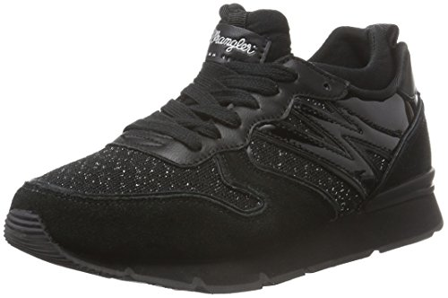 Wrangler Damen Runway Scuba Sneakers, Schwarz (296 Black/Black), 38