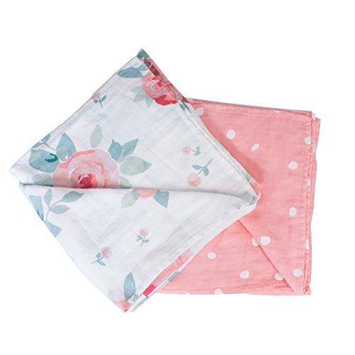 Bebe au Lait Oh So Soft Muslin Swaddle Blanket Set, Soft Muslin Design, Stylish Patterns - Rosy and Dewdrops